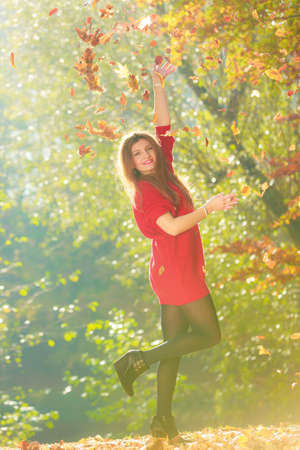tossing: Nature outdoor vegetation joy entertainment relax concept. Lady playing with leaves. Youthful girl tossing around dried foliage having fun in autumnal woodland. Stock Photo
