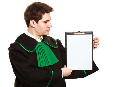 explanations: Career and legal advice. Young male lawyer hold clipboard files show advice and help. Blank copy space for text Stock Photo