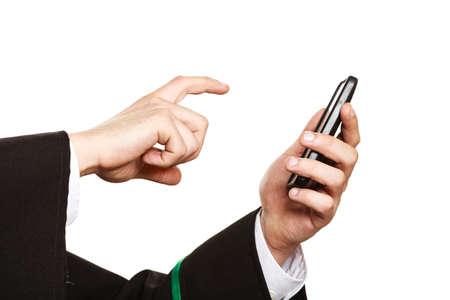 i i  i i toga: Tecnología y ayuda ley de carrera y asesoramiento. uso abogado pantalla del teléfono inteligente táctil del teléfono celular.