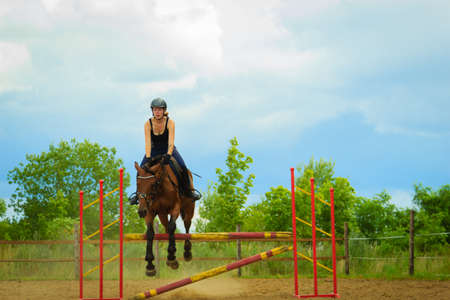 Taking care of animals, horsemanship, western competitions concept. Jockey young girl doing horse jumping through hurdle on sunny day Imagens