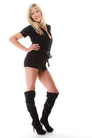 Full length blonde female policewoman cop posing isolated on white background
