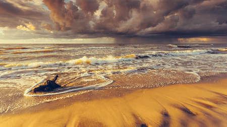 Baltic sea coast at golden romantic sunset time Stock Photo