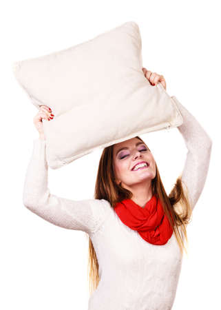 Happy smiling woman holding pillow, Health balance sleep concept. Stock Photo