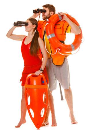 レスキュー チューブ リング ブイ救命浮環、ライフ セーバーは、双眼鏡でみるジャケットをベストします。男と女のスイミング プールを監督します