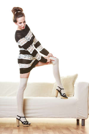 hosiery: Fashion woman in full length. Slim girl in fashionable striped dress high heels posing Stock Photo