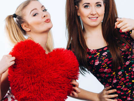heart shaped: Happy two teenager women holding heart shaped pillow. Valentines day gift ideas, teenage love concept.