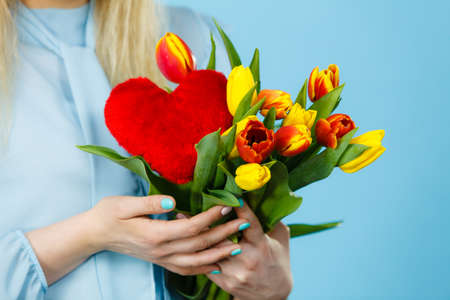 International womens mothers or valentines day. Unrecognizable female holding tulips bunch and red heart sign. On blue