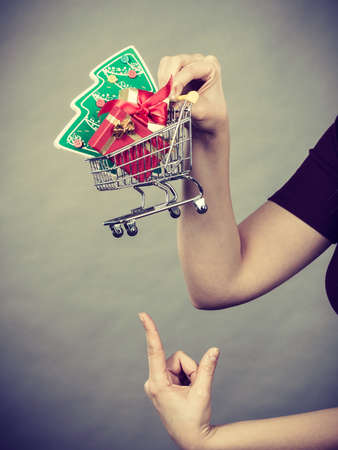 Xmas, seasonal sales, winter celebration concept. Woman hand holding shopping trolley cart basket with little christmas tree and gifts inside.