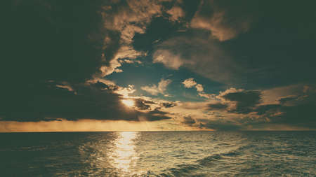 Beautiful seascape evening sea horizon and sky. Tranquil scene. Natural composition of nature. Landscape. View from yacht.
