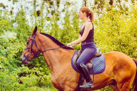 Animal, horsemanship concept. Young woman ridding on a horse through garden on sunny spring day