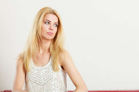 Beauty of feminine, beautiful women concept. Attractive blonde woman looking at copyspace Stock Photo