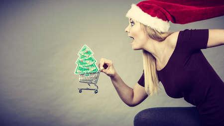 Kerstmis, seizoensgebonden verkoop, winterfeestconcept. Gelukkige vrouw draagt ??kerstman helper hoed met boodschappenmand karretje met kleine kerstboom binnen te koop.