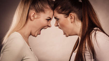 Two agressive women having argue fight being mad at each other. Female violance concept. Stok Fotoğraf - 91239433
