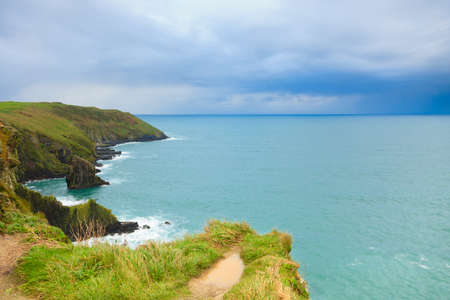 Irish landscape. Coastline atlantic ocean rocky coast scenery. County Cork, Ireland Europe