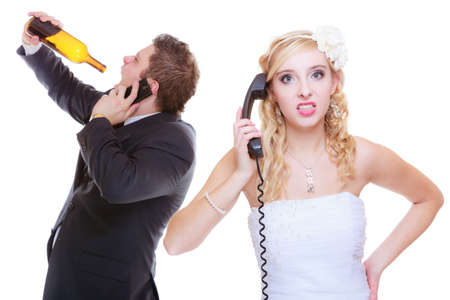 Addiction in relationship, marriage problems and troubles concept. Bride having argument with drunk alcoholic groom, she is calling for help