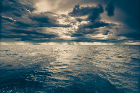 Stormy seascape sea horizon and sky. Natural composition of nature. Landscape. View from ship boat.