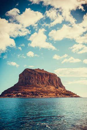 Greek rocky island Monemvasia, Greece, east coast of the Peloponnese, Lakonia. Travel destinations.