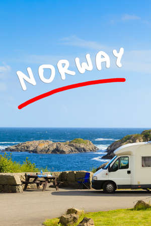 Tourism vacation and travel. Camper van and rocky coast landscape of southern Norway with an ocean view in Rogaland county Norway. Stock Photo