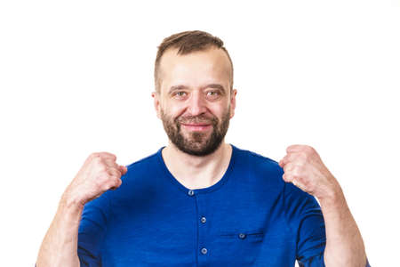 Funny adult man, guy folling around gesturing with hands. Positive emotions concept. Stock Photo