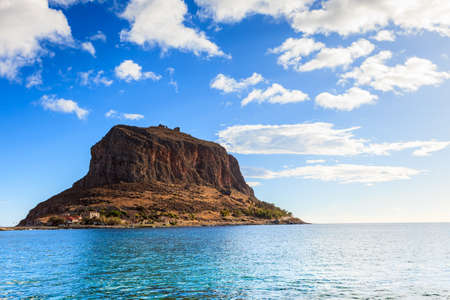 Greek rocky island Monemvasia, Greece, east coast of the Peloponnese, Lakonia. Travel destinations.