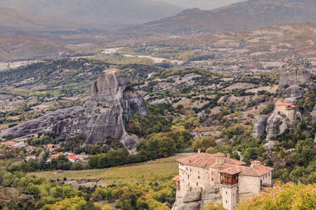 Monasteries on cliff in Meteora, Monastery of Rousanou and St. Nicholas Anapausas, Thessaly Greece. Greek destinations