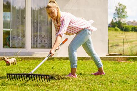 Gardening. Female person young woman raking green lawn grass with rake tool on her backyard Stock fotó
