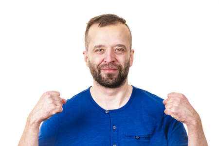 Funny adult man, guy fooling around gesturing with hands. Positive emotions concept. Stock Photo