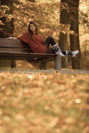 Nature outdoor relax leisure scenery concept. Redhead lady chilling on bench. Young elegant girl sitting in autumnal park. 스톡 콘텐츠