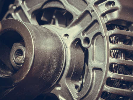 Industrial electric auto motor concept. Detailed closeup of cross section in alternator generator machine engine Stock Photo