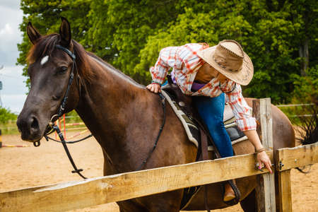 Taking care of animals, horsemanship, equine concept. Cowgirl getting horse ready for ride on countryside. Imagens