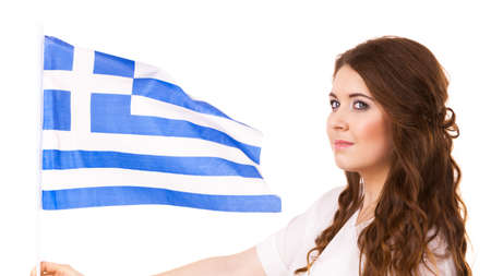 Brunette curly long hair young woman with greek waving flag, national symbol of Greece, isolated on white