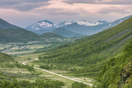 Tourism vacation and travel. Mountains landscape at summer in Norway, Scandinavia.
