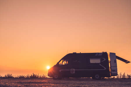 Tourism vacation and travel. Camper van and morning landscape at sunrise in Greece
