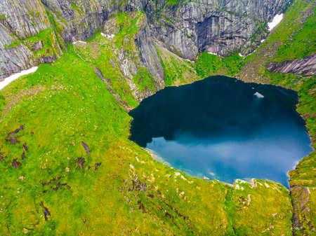 Aerial view on Reine mountain lake Reinevatnet, Moskenesoya Lofoten islands Norway. Travel destination.