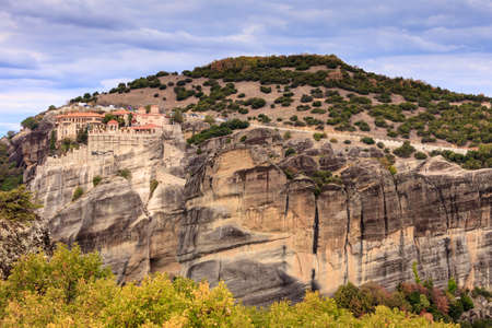 Monastery on cliff in Meteora, Thessaly Greece. Greek destinations Stock Photo