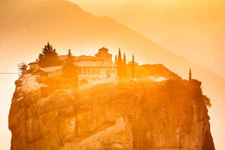 Monastery of the Holy Trinity on cliff. Greek destinations. The Meteora monasteries, Greece Kalambaka.