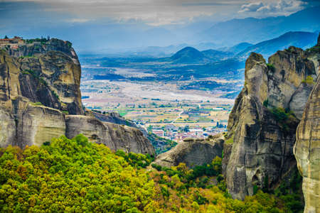 Mountains and cliffs rocky formations in Thessaly Greece. Stock fotó