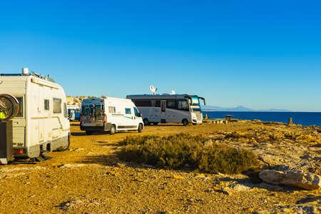 TORREVIEJA, SPAIN - JANUAR 26, 2019: Camper vans recreational vehicles on mediterranean coast of Torrevieja seaside spanish city on the Costa Blanca, on Januar 26, 2019, Spain