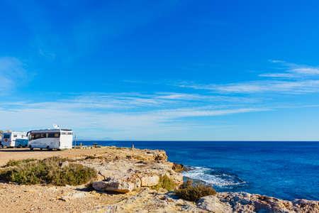 TORREVIEJA, SPAIN - JANUAR 28, 2019: Camper vans recreational vehicles on mediterranean coast of Torrevieja seaside spanish city on the Costa Blanca, on Januar 28, 2019, Spain Redactioneel