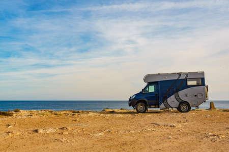 TORREVIEJA, SPAIN - JANUAR 30, 2019: Iveco off-road camper 4x4, rv motorhome on mediterranean coast of Torrevieja seaside spanish city on the Costa Blanca, on Januar 30, 2019, Spain