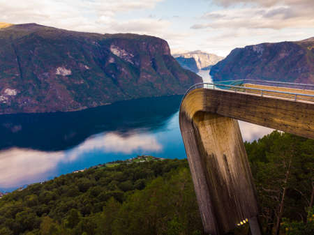 Aerial view. Aurlandsfjord landscape from Stegastein viewing point, early morning. Norway Scandinavia. National tourist route Aurlandsfjellet.