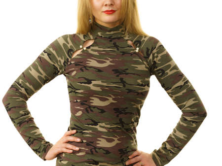 Close up of unrecognizable woman wearing moro camo military camouflage top, detail of pattern.