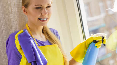 Young housewife cleaner woman washing window at home using cloth and spray detergent. Cleaning concept Фото со стока - 120314225