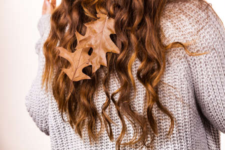 Long brown haired girl wearing warm sweater with autumn dry oak leaves in hair, back view. Season fall concept.