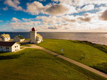 Coastal landscape. Obrestad lighthouse in south Norway, Norwegian national tourist county route road 44 Jaeren.