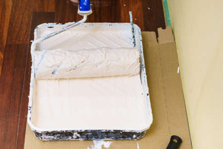 Home renovation, walls color change, diy concept. White paint with essentials equipment. Standard-Bild - 121722167