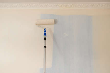 Person appplying paint on wall using roller brush. Home renovation concept. Imagens