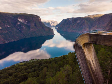 Aerial view. Aurlandsfjord landscape from Stegastein viewing point, early morning. Norway Scandinavia. National tourist route Aurlandsfjellet. Stock Photo