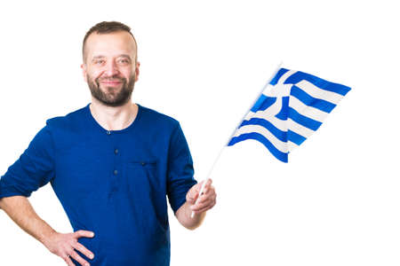Man with greek waving flag, national symbol of Greece, isolated on white