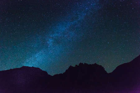 Dark blue sky with highly visible stars. Beauty of cosmos, Milky Way galaxy concept.